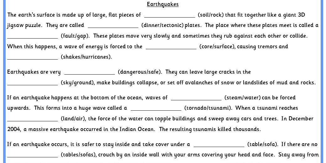 Earthquake Cloze Activity Worksheets Differentiated Six Ways