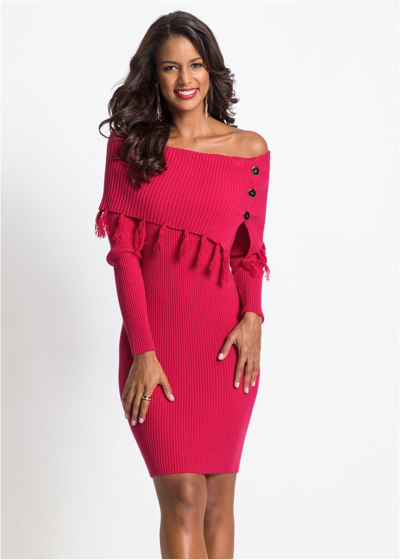 Pletené šaty s Carmen výstřihem 8379f24c7e