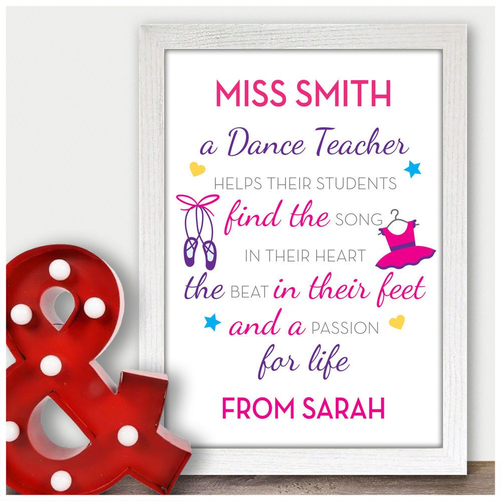 Personalised Dance Teacher Thank You Gifts Ballet Tap Dancing