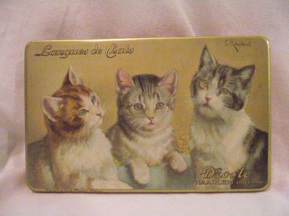Vintage Tin Box Droste Chocolate Langues de Chats 3 Cats Kittens #Droste