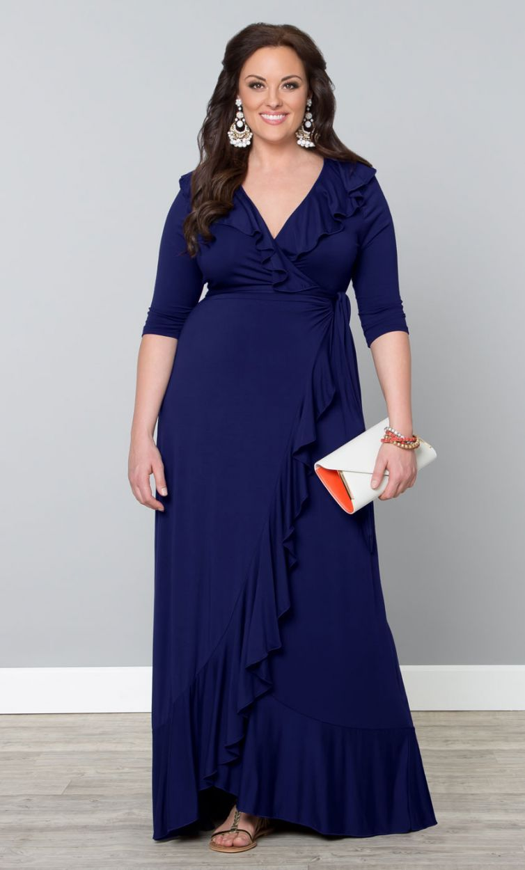 360bdcea0a Navy Maritime Plus Size Maxi Dress by Kiyonna. I love everything about the  dress…and also those chandelier earrings!