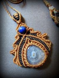 1 балл что ☆ солнечной кварц и усилитель; лазурит и усилитель; Чароит ожерелье * Павлин Кварц * * макраме натуральный камень * Power Stone