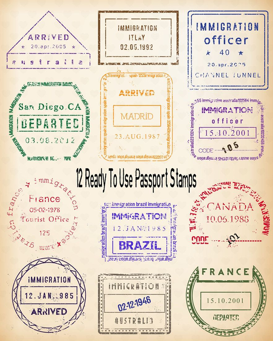 Passport Stamp Clipart 24 Digital Clip Art Images Editable