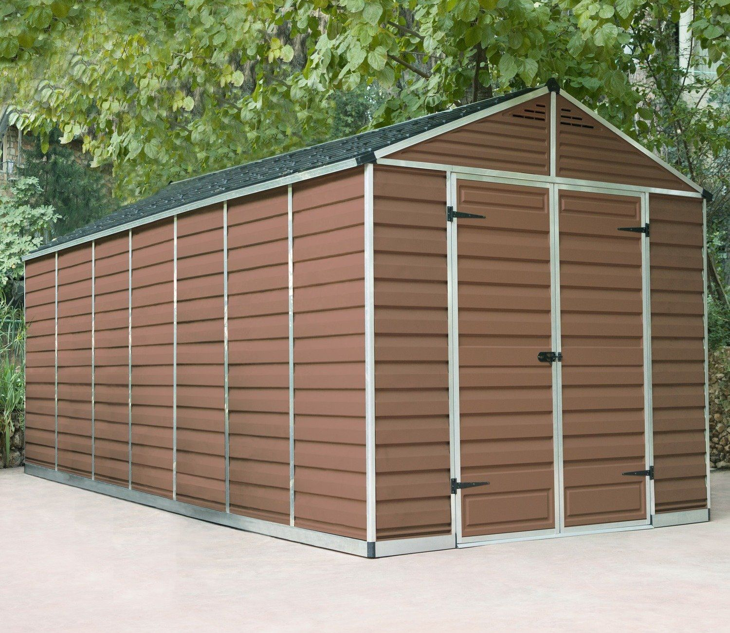 Palram Skylight Amber 8ft x 20ft Polycarbonate Shed | Plastic Sheds ...