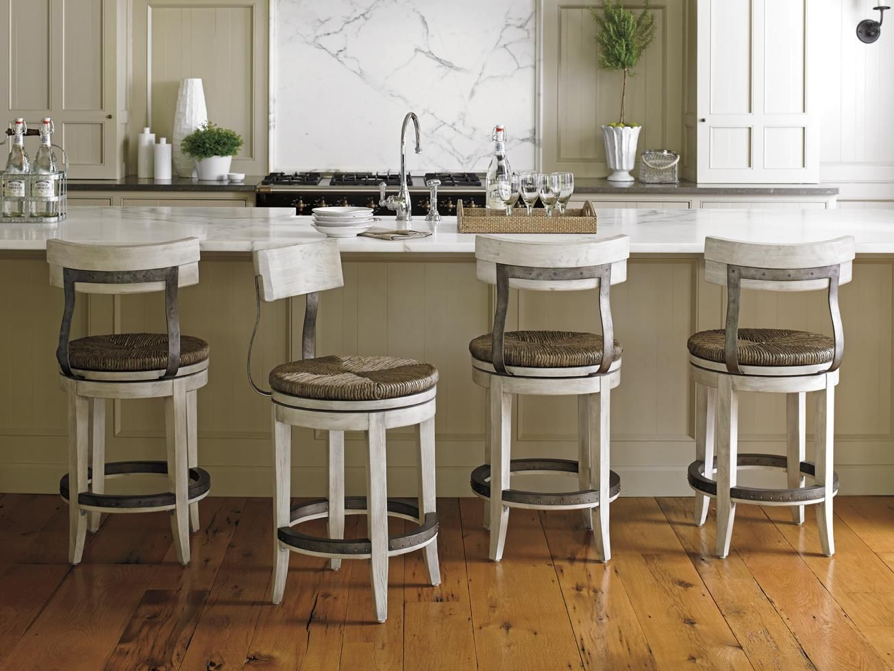 Oyster Bay Merrick Swivel Counter Stool With Rush Seat By