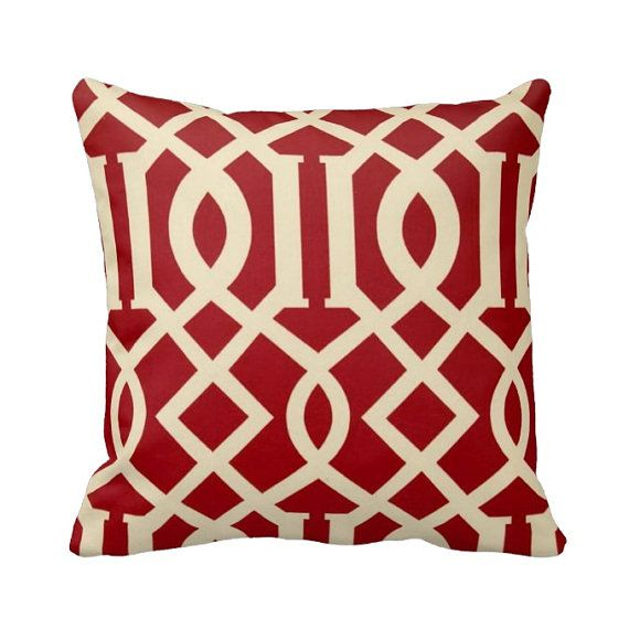 Zippered Outdoor Throw Pillow Cover Red by PrimalVogueHomeDecor