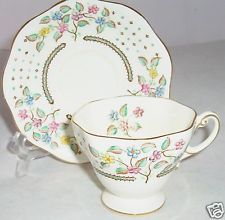 FOLEY CREAM FLORAL CUP SAUCER SET CHINA FLOWERS PINK BLUE