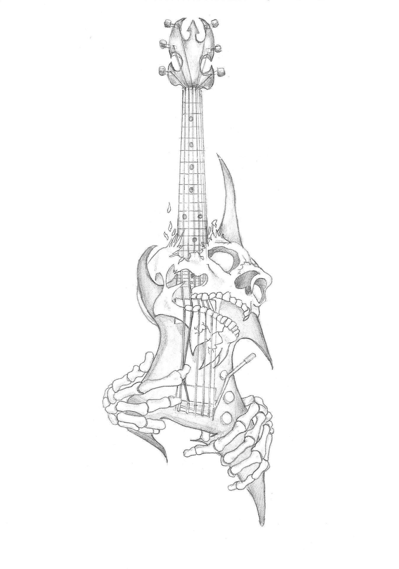 Skull Guitar Tattoo By Gaaradeviant