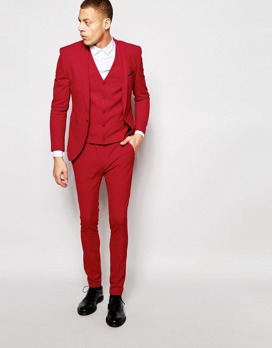 ASOS Super Skinny Suit Jacket in Red   ASOS Vest in Red   ASOS ...