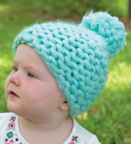 Mint Green Thick Knit and Lined Pom Pom Beanie for Baby Girls ... bf841b0a744b