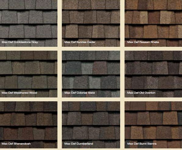 Roof shingles colors for Names of roofing materials