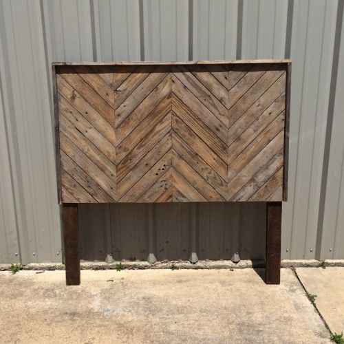 Reclaimed Wood Chevron Style Headboard Bed Furniture
