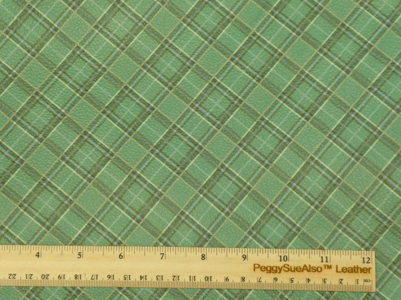 NeW Leather 8x10 IRISH SEA GREEN Tartan Plaid Print Cowhide 3-3.5 oz / 1.2-1.4 mm PeggySueAlso™ E2178-07 #irishsea