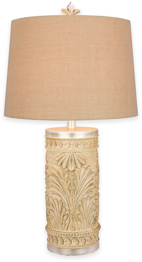 Lamp Shades Bed Bath And Beyond Fangio Lighting Leaf Table Lamp In Cream With Linen Shade  Bed Bath