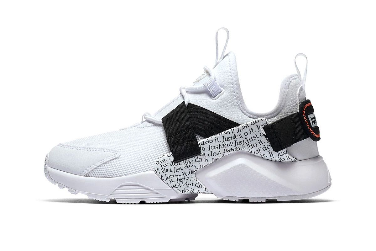 f0b3d77273bb3 Nike Air Huarache City Low Just Do It collection black white sneakers  footwear