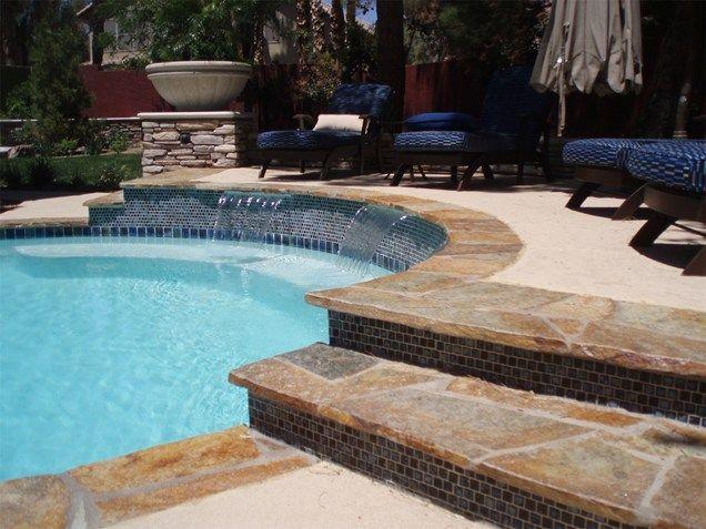 Flagstone Coping Waterfalls Blue Tile Swimming Pool Newtex Landscape Inc Henderson Nv