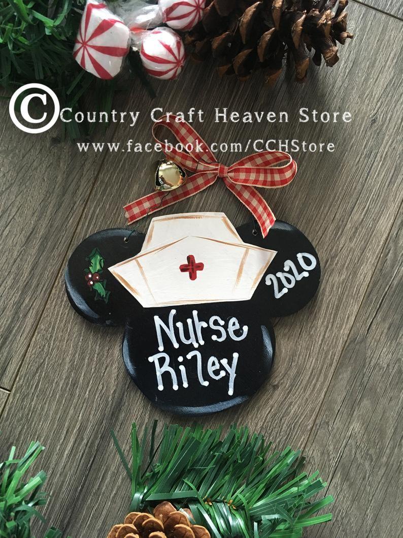 Minnie Nurse Head Christmas Ornament Personalized Nurse
