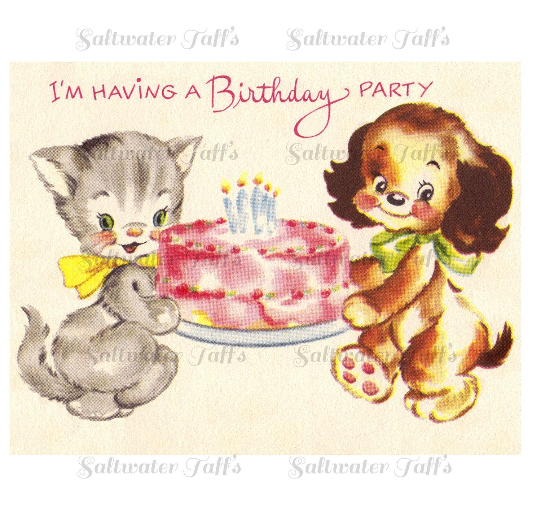 Vintage Birthday Party Invitation Cat Dog Digital Download vintage ...