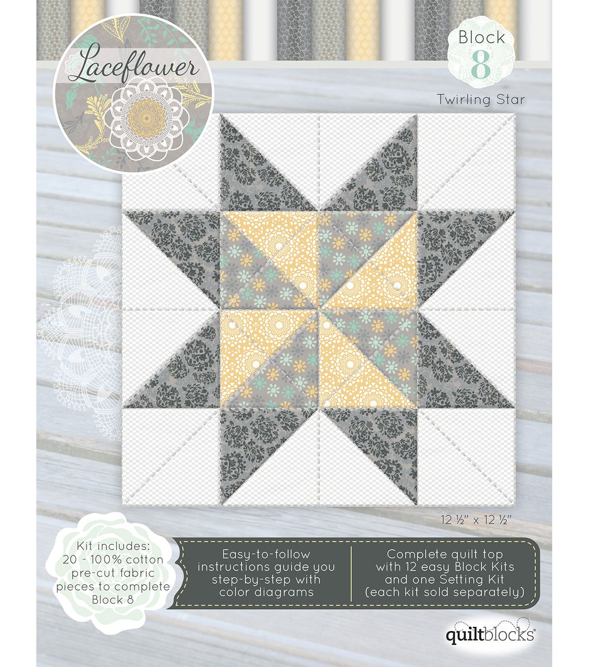 Quilt Block of the Month Cotton Fabric-Laceflower Block 8