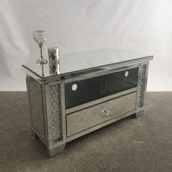 Venetian Mirrored Glass Crystal Corner Mirrored TV Stand