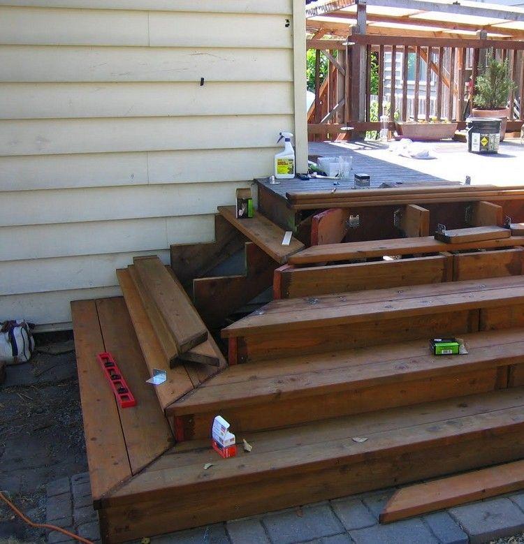 Escalier bois de jardin terrasse construire pour l forme