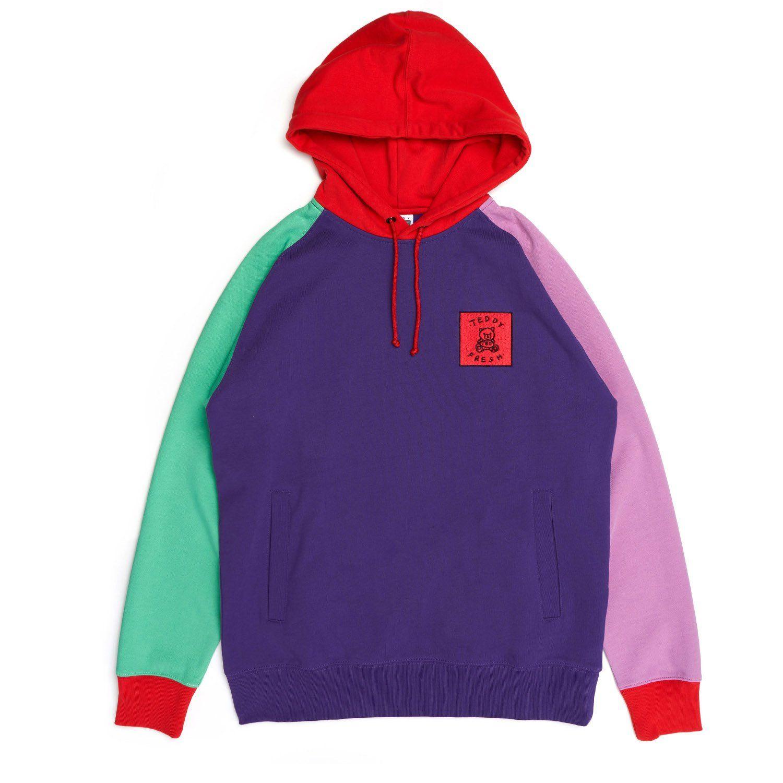 c595793ab Purple Color Block Hoodie | Fashion | Hoodies, Purple red color ...