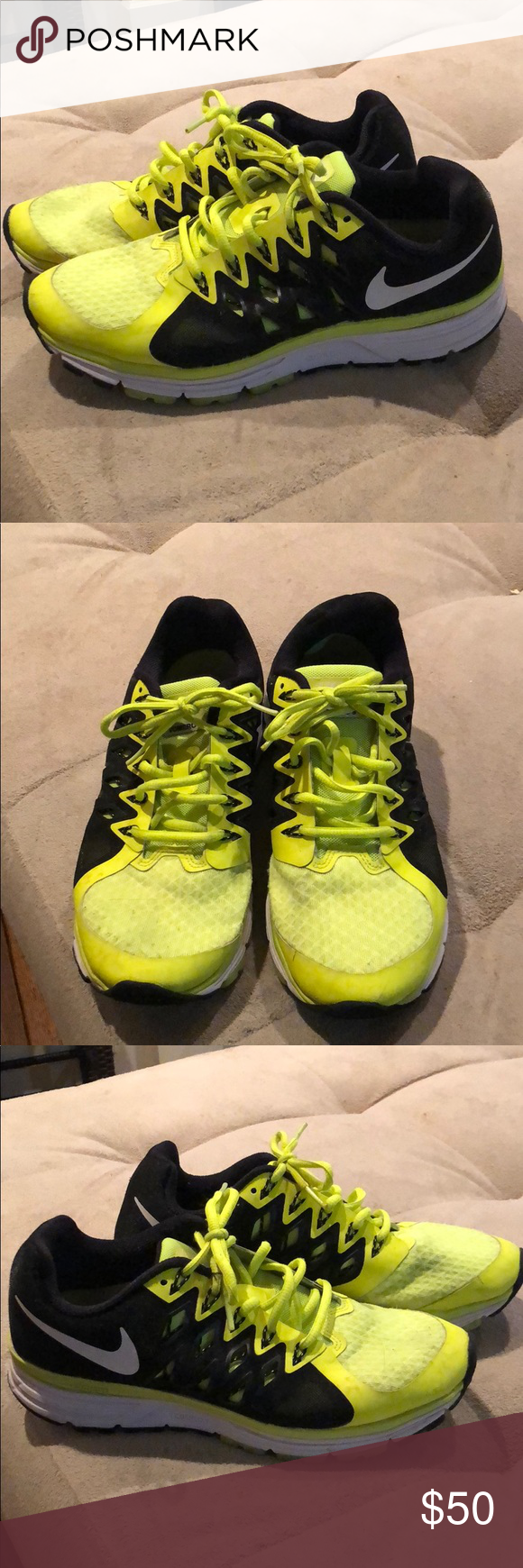 pretty nice 26ef6 adc8b Nike Vomero 9 neon yellow and black shoes Minimal wear. Size 8 men s.  Women s 9.5. Great condition. Good shoe for heel support but light enough  for ...