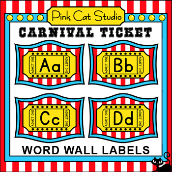 Carnival Ticket Word Wall Set - Circus Ticket Circus theme - how to make tickets on word