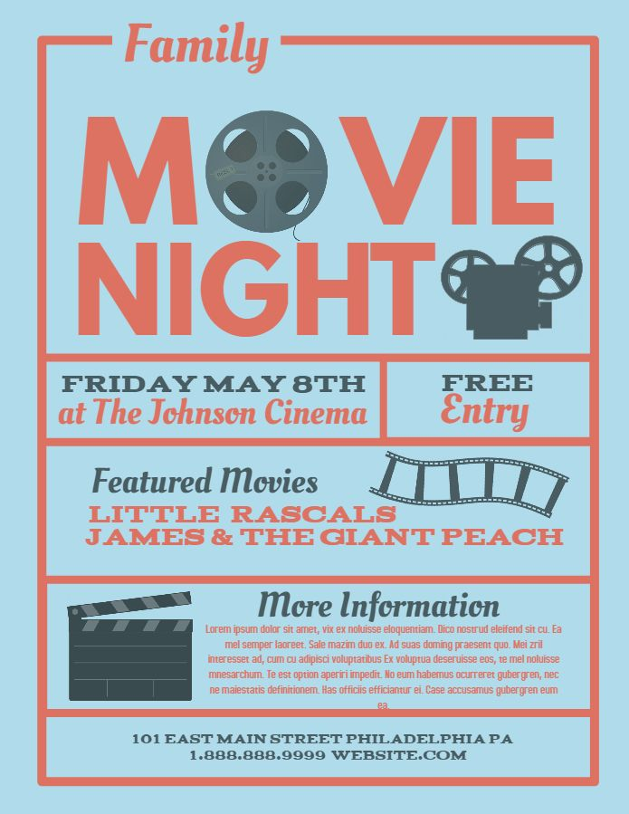 Movie Night Flyer Social Media Post Custom Template Theater And