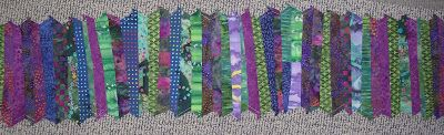 little scraps sewn together, used to make small bags