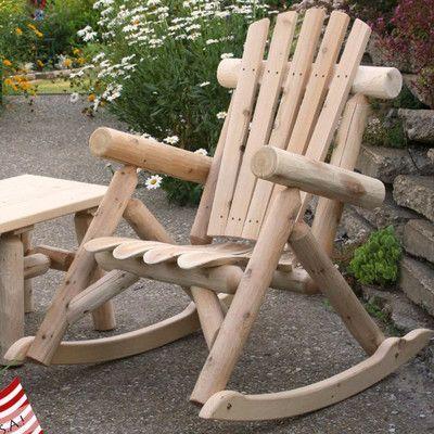 Solid Wood Rocking Adirondack Chair
