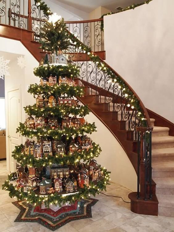 Clever way to display a Christmas Village Holidays Pinterest