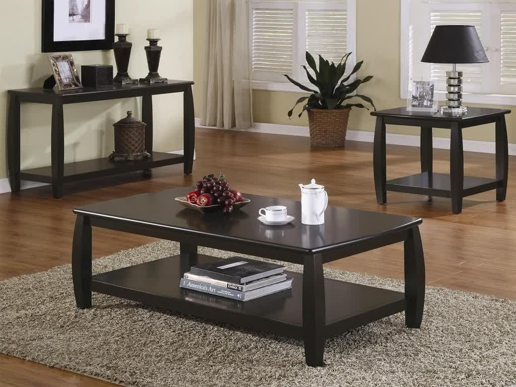 gray wood coffee table set