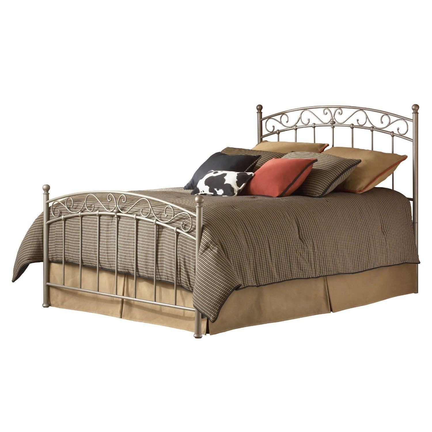 Queen Size Gentle Arch Metal Bed With Headboard & Footboard