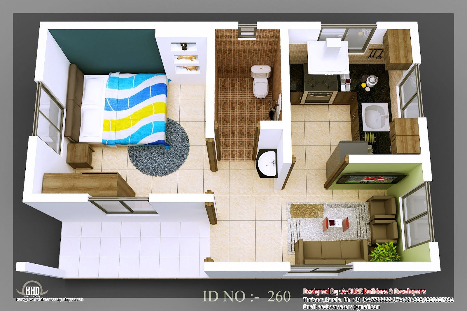 3d Isometric Views Of Small House Plans Kerala House Design Small House Layout Small House Design