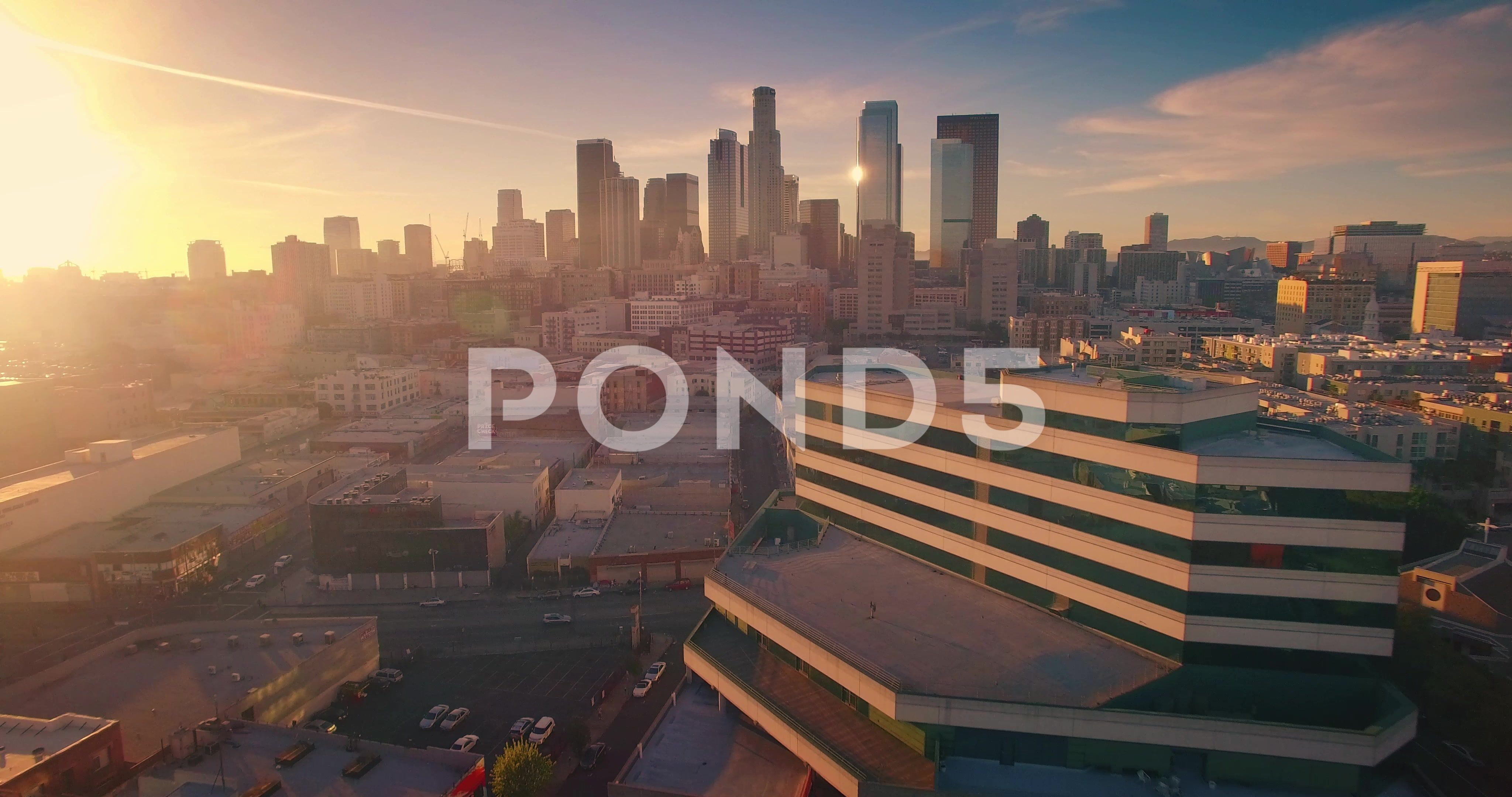 Aerial View City Los Angeles Downtown Skyline Sunset Camera Flying Forward 4k Stock Footage Los Angeles Downtown Aerial Skyline Aerial View Aerial