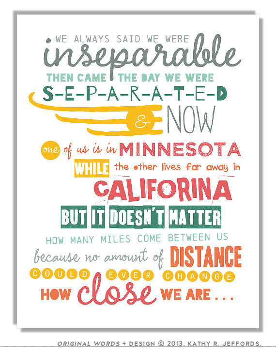 Long Distance Friendship Art Besties Typographic Print Set