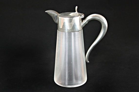 Rare Syrup Pitcher, Syrup Dispenser, Glass Syrup Pitcher, Glass Syrup Dispenser, Ribbed Glass Syrup Pitcher, Concentric Ringed Syrup Pitcher
