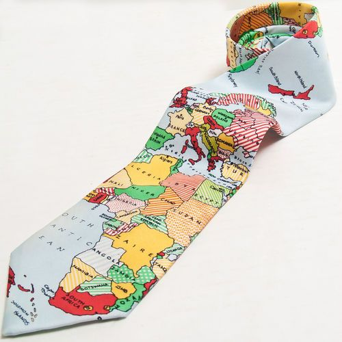 World Map Tie.World Map Mens Novelty Neck Tie Silk Uk England Made Geography