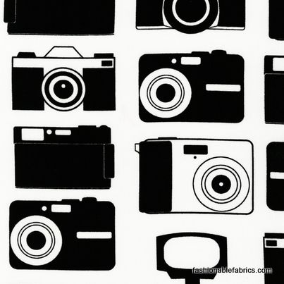 $8.95 Fabric... Boy Toys Cameras in Black and White by Robert Kaufman Fabrics