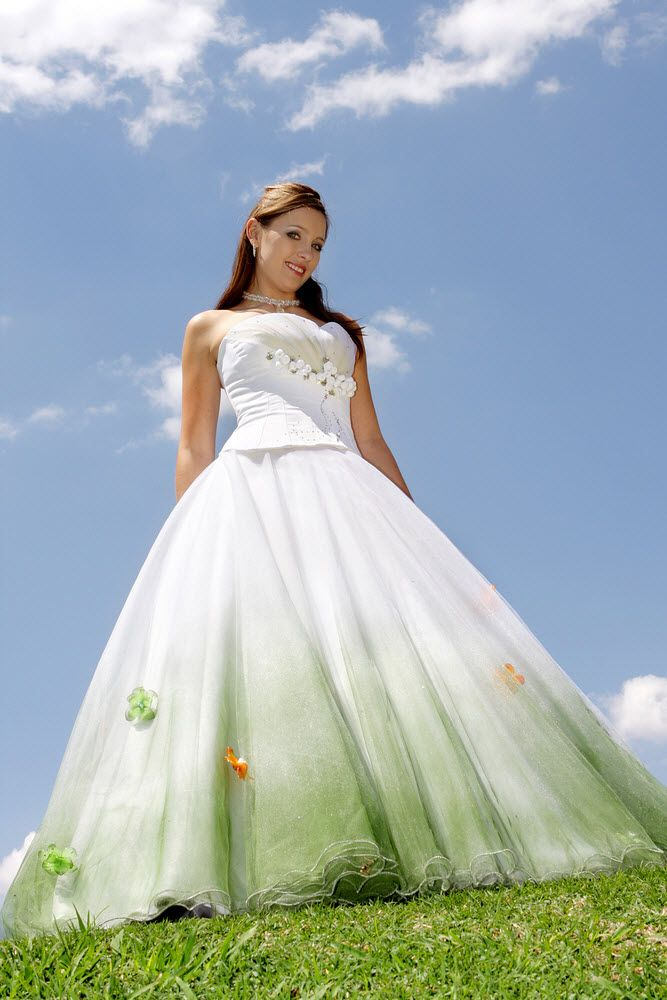 white and mint green wedding dress colorful wedding dresses
