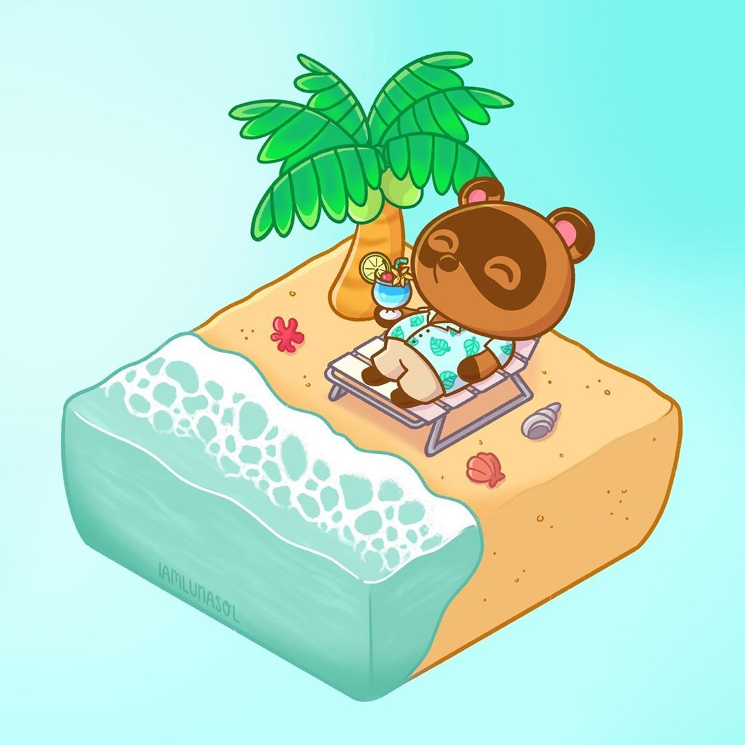 "Luna Sol 🌱 on Instagram: ""I may not like the beach IRL but the previews of Tom Nook in his Hawaiian shirt from Animal Crossing New Horizons are just so cute. I…"""