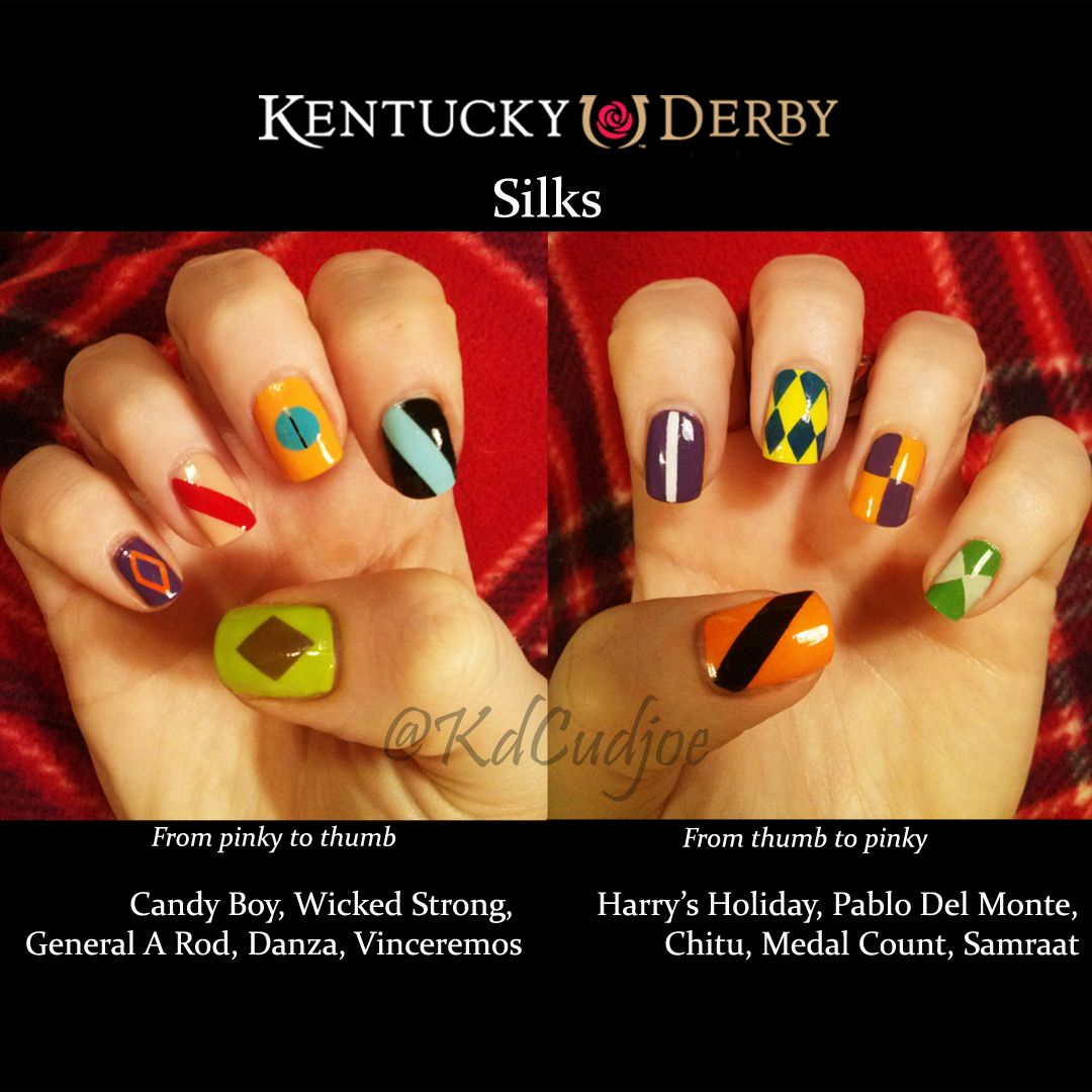Kentucky Derby horse silks nail art | Kentucky Derby Nails ...