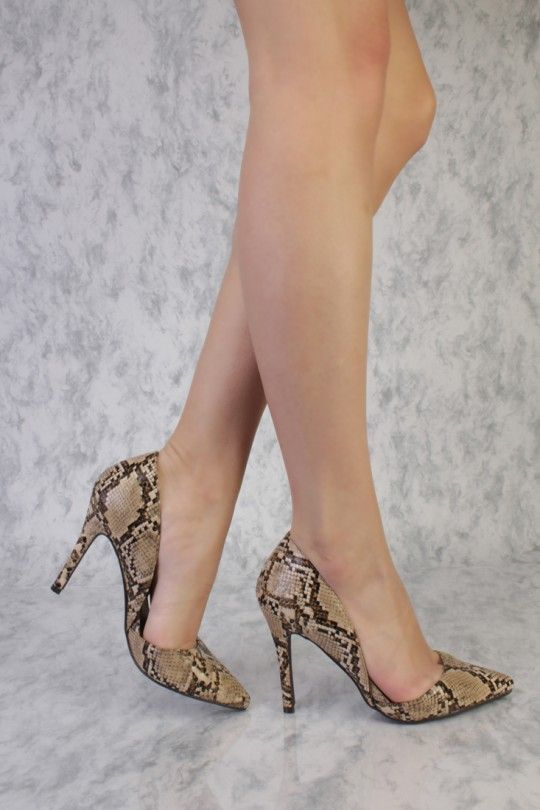 da81129ad07 Beige Snake Print Side Cut Outs Pointy Toe Single Sole Faux Leather ...
