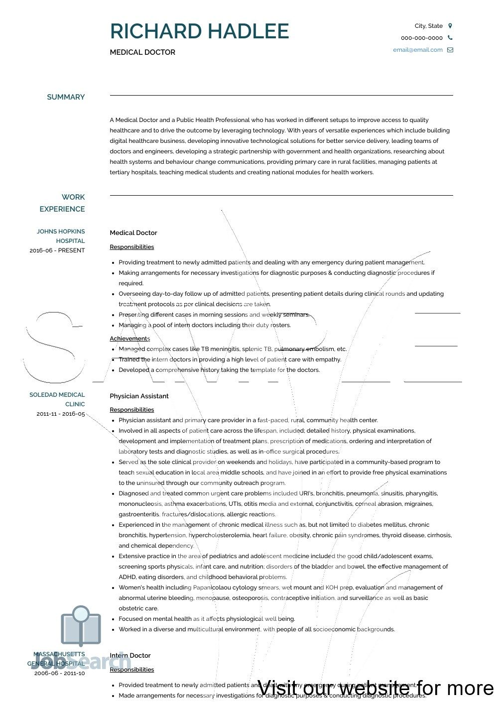 Medical Doctor Resume Templates, Job Interview Tips 2020