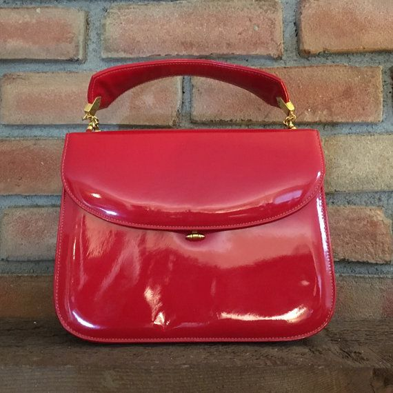 Vintage Saks Fifth Avenue Purse Red Patent Leather Handbag Gold Tone Accents Lining Mini Mirror Fashion Clutch