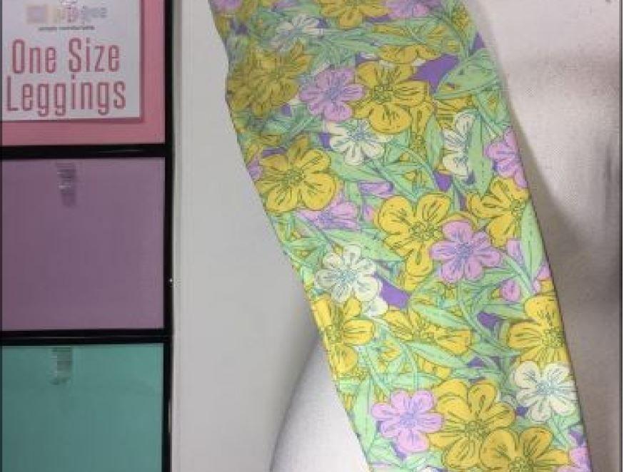 b37d5d2393b441 Lularoe Yellow Purple Floral Leggings New #LULAROE #fulllength ...