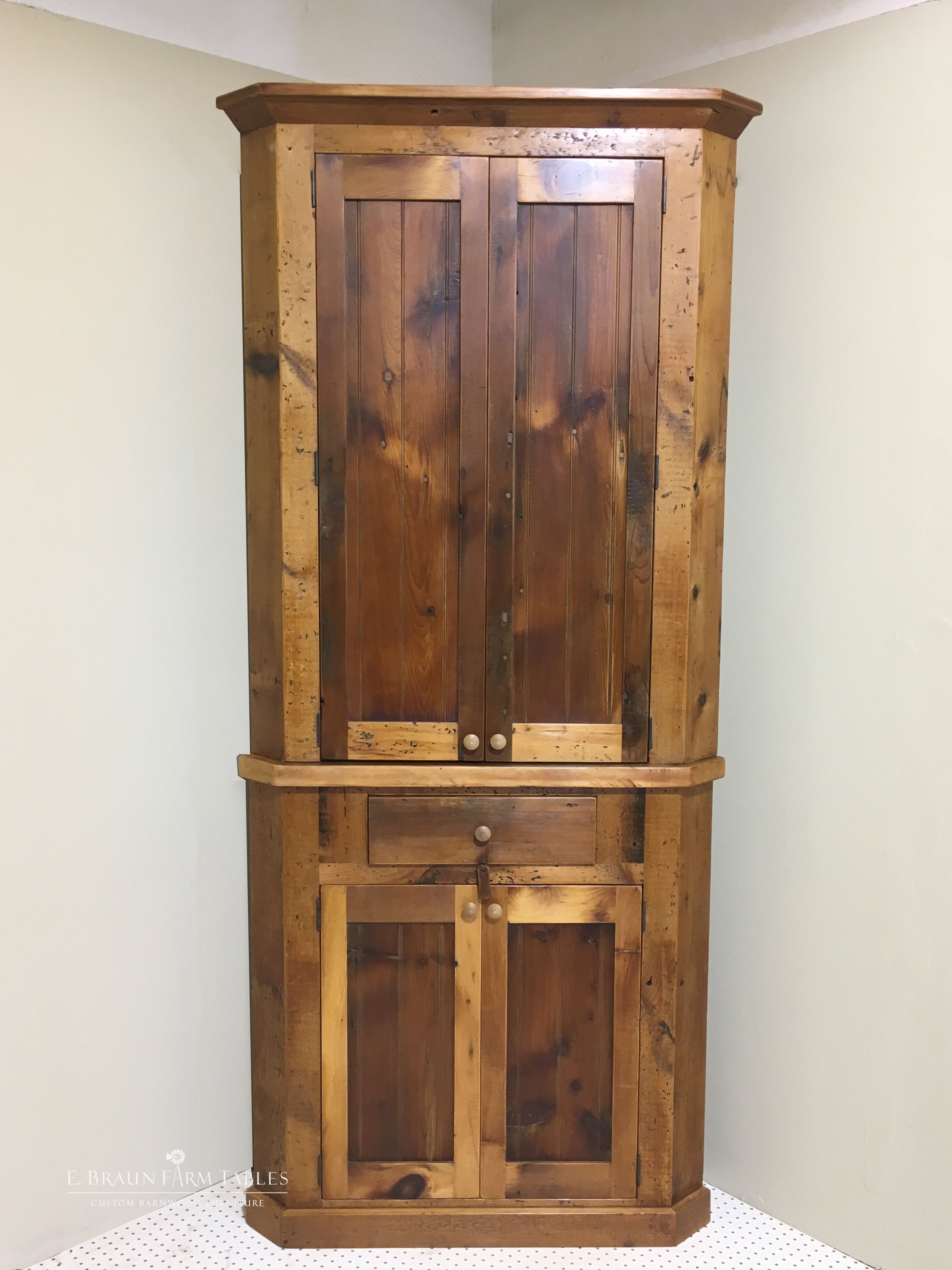 Reclaimed Pine Barn Wood Corner Cabinet Handcrafted In The Heart Of Amish Country Lancaster County P Wood Storage Cabinets Wood Cabinets Cabinet Furniture