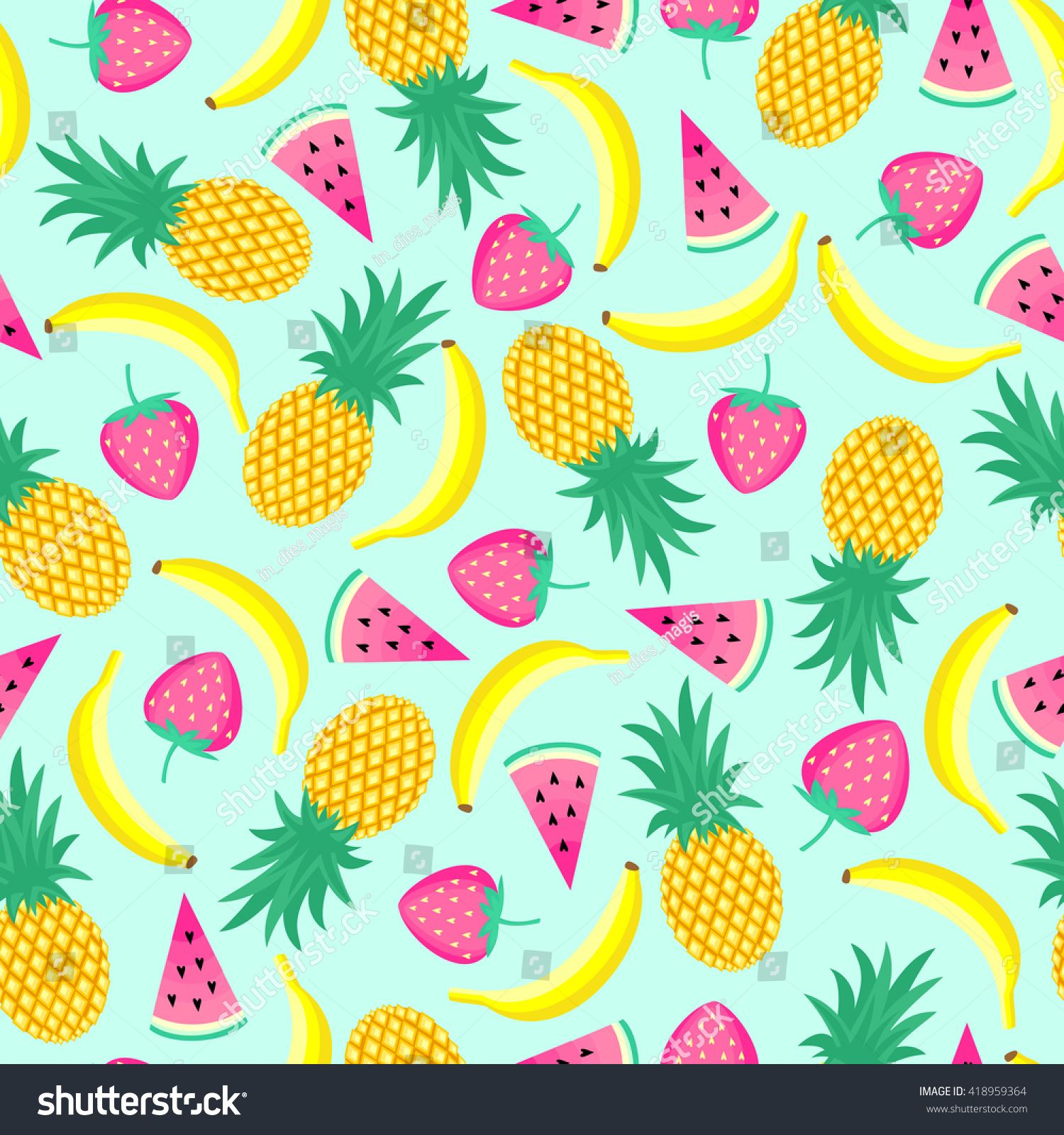 Seamless Pattern With Yellow Bananas Pineapples And Juicy Strawberries On Mint Green Background Cu Fruit Illustration Mint Green Background Seamless Patterns