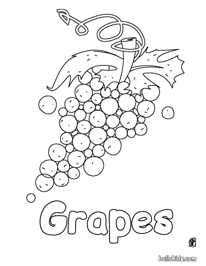 Color in this Grapes coloring page. Perfect coloring sheets for kids ...
